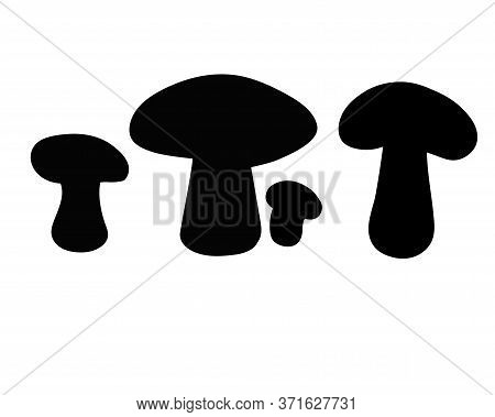 Mushrooms - Black Vector Silhouettes For Logo Or Pictogram. Set Of Mushrooms - Silhouettes Of Mushro