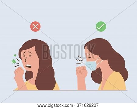 Woman Coughing And Sneezing Make A Virus Spreading And Woman Wearing A Surgical Mask For Stop Spread