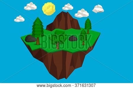 Landscape Of Low Poly Forest In The Island On The The Sky