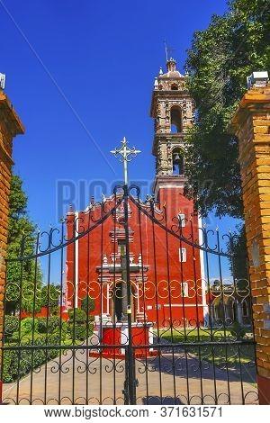 Colorful San Pedro Church Cholula Puebla Mexico.
