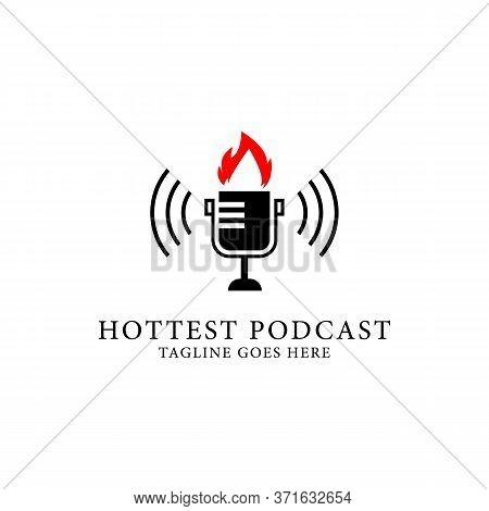 Hottest Podcast Show Logo Design, Podcast Radio Show Logo Template Vector