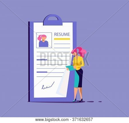 Tiny Woman Select A Resume For A Job. Big Application Form For Employment. Work Hiring Concept For R