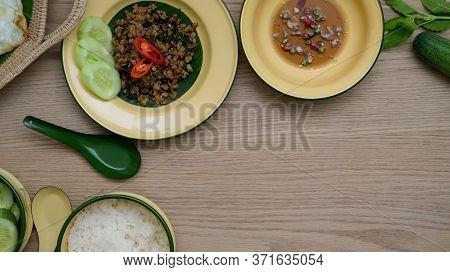 Thai Traditional Food, Stir Fried Minced Pork With Basil (pad Ka Prao) And Fried Egg Serving On Vint