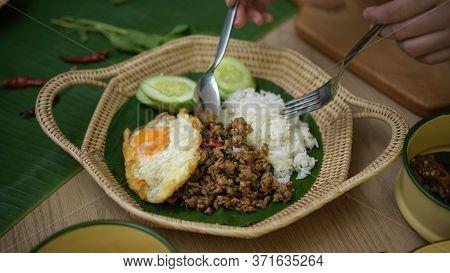Hands Holding Silverware Eating Stir Fried Minced Pork With Basil (pad Ka Prao), Rice Fried Egg Serv