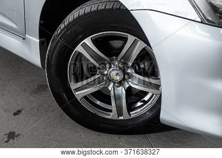 Novosibirsk/ Russia - June 03, 2020: Toyota Wish, Close-up Of The Alloy Wheel. Photography Of A Mode