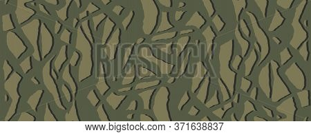 Stylish Hiding Bark Camouflage, Seamless Pattern. Khaki Dark Forest Camo. Vector Wallpaper