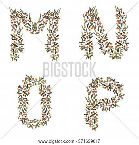 M, N, O, P. Letters From The Floral Alphabet On A White Background