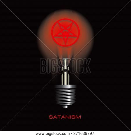Light Bulb On A Black Background With A Symbol Of Satanism