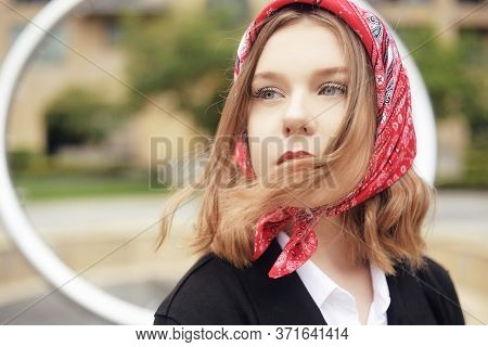 Incredible Portrait Of A Fashionable Girl In A Red Scarf And Red Lips. Fashion For Hats. The Blonde