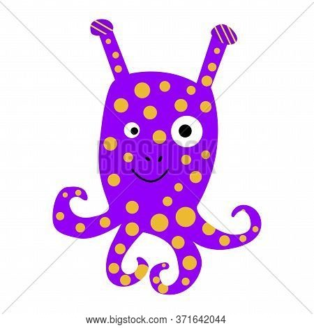 Vector Caricature Of An Octopus Painted By A Child. Summer Cute Cheerful Clipart Of An Animal With T