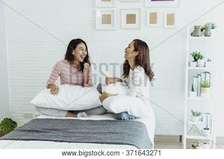 Two Young Women Dance Laughing Together Happy Friendship Smile With Happiness In Bedroom Wear Casual