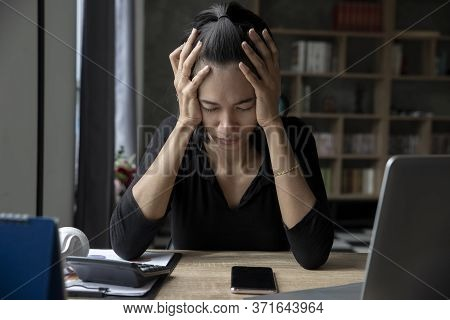 Stressed Businesswoman, Frustrated And Upset In Business Pressure And Overworked At Home Office. Adu