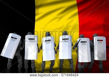 Belgium Protest Fighting Concept, Police Guards Protecting Country Against Revolt - Military 3d Illu