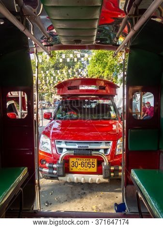 Chiang Mai Thailand-12 January 2020:buses In Chiang Mai Are Known As Red Buses. Images For Editorial