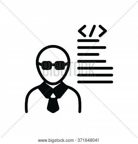 Black Solid Icon For Developer  Programmer Man Adult Coder Software-engineer