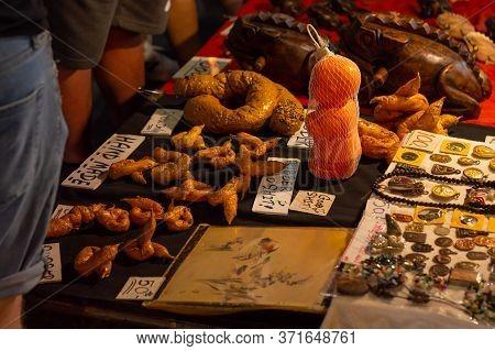 Chiang Mai Walking Street Chiang Mai Thailand-12 January 2020:a Local Handicraft Market Made From Si