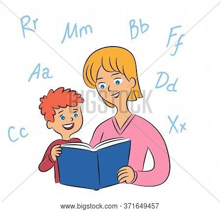 Mother And Son Reading Book And Learning Alphabet Letters. Babysitter Teaching Little Boy. Mom And C