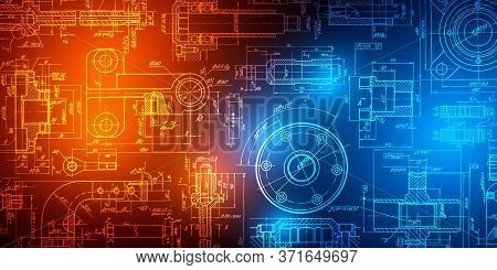Technology Neon Background .mechanical Engineering Drawings.technical Drawing Background .vector Ill