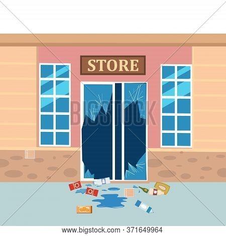 Store Broken. Robbery Concept. Broken Doors Facades Of Store. Crime Scene Vandalism, Cracked Glass,