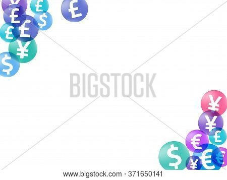 Euro Dollar Pound Yen Circle Symbols Scatter Currency Vector Background. Forex Backdrop. Currency Sy