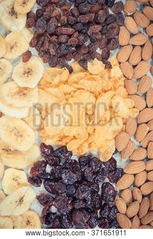 Vintage Photo, Dried Ingredients As Source Carbohydrates, Dietary Fiber, Vitamins And Minerals, Conc