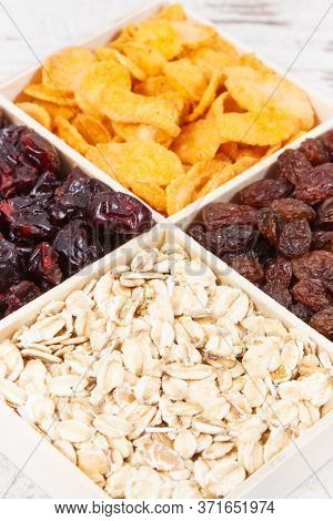 Healthy Nutritious Dried Fruits With Flakes As Source Vitamins, Carbohydrates, Dietary Fiber And Min