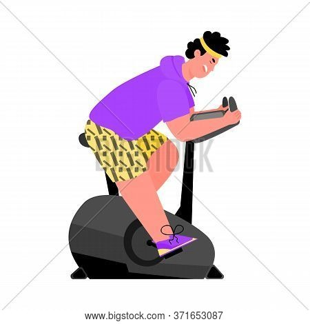 Cartoon Character Of Man Doing Workout On Exercise Bike, Flat Vector Illustration Isolated On White