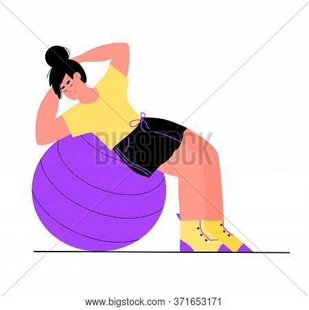Sportive Active Woman Cartoon Character Exercising On Fit Ball, Flat Vector Illustration Isolated On