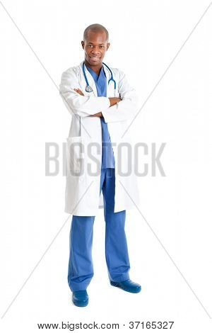 African young doctor full length