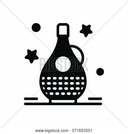 Black Solid Icon For Balsamic Jar  Clean Glossy Oleaginous