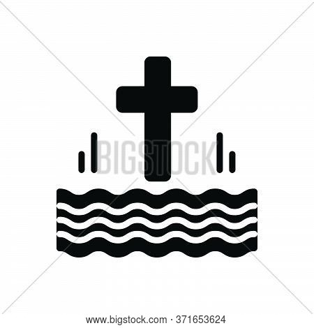 Black Solid Icon For Baptized Christianize Cross Holy Sanctified Holy-river