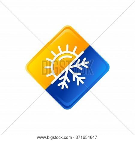 Air Conditioning Logo - Hot And Cold - Flat Vector Icons With Symbols Of Sun And Snowflake - Climate