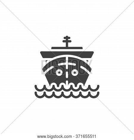 Cruise Ship Vector Icon. Filled Flat Sign For Mobile Concept And Web Design. Ship On Waves Glyph Ico