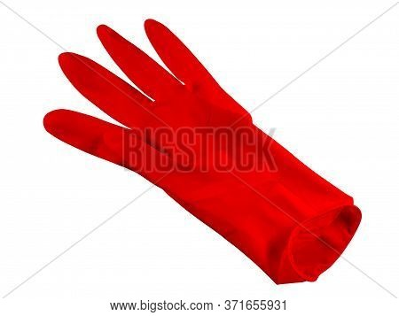 Red Medical Rubber Glove, Isolated On White Background. Clipping Path Included.