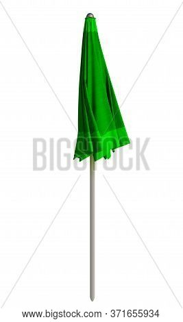 Closed Green Beach Umbrella Isolated On White. Clipping Path Included.