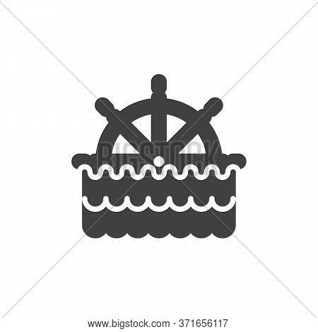 Ship Steering Wheel And Sea Waves Vector Icon. Filled Flat Sign For Mobile Concept And Web Design. M