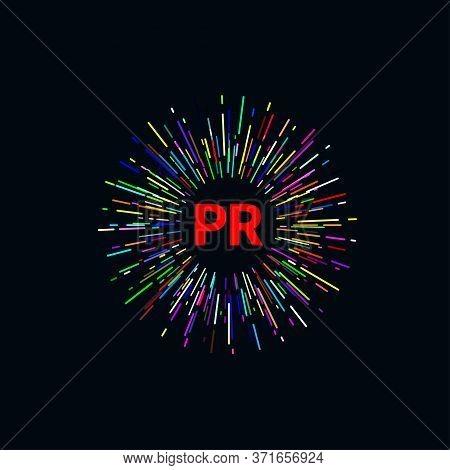 Pr Logo. Public Relations Icon. Vector Illustration