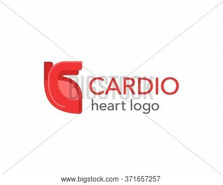 Cardiology Medical Logo - Human Heart In Abstract Style - Emblem For Hospital, Surgery, Anatomy, Hea