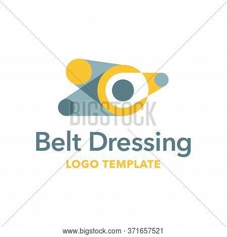 Belt Dressing Logo Template - Belt Drive Transmission Car Engine Mechanism - Vector Emblem For Autom