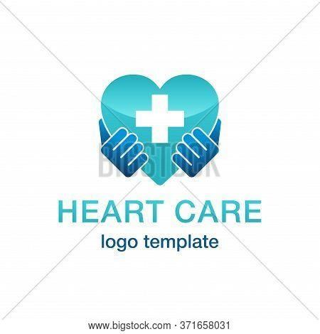 Heart Care Cardiology Medical Logo Template - Hands Hold Shape With Medicine Cross Inside - Isolated