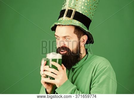 Drinking Beer Part Celebration. Fest And Holiday Menu. Dyed Green Traditional Beer. Alcohol Beverage