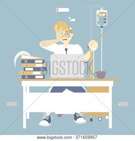 Tired Overwork Businessman Holding Iv (intravenous) Stand With Infusion Drip Bag, Health Care Concep