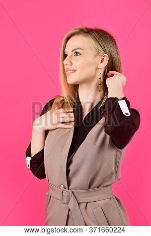 Loving Her New Style. Woman In Classy Elegant Jacket. Businesswoman Wear Suit. Hairdresser Beauty Sa