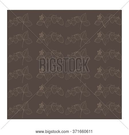 Seamless, Abstract Pattern With Strawberries, Leaves, Branches Of Gray Color On A Gray-brown Backgro
