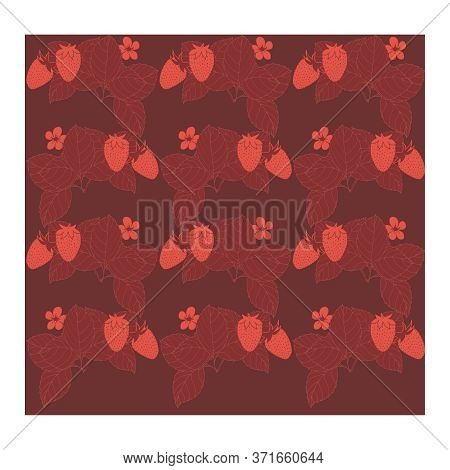 Seamless, Abstract Pattern With Strawberry Berries, Leaves, Pink Flowers On A Maroon Background. Red