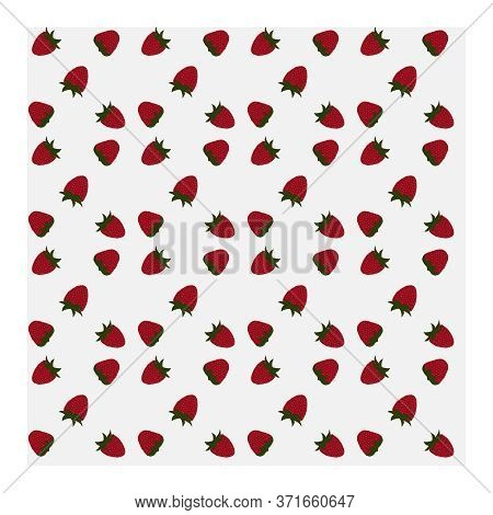 Seamless Pattern With Strawberry Berries, Leaves On A White Blue Background. Red Strawberry Berries