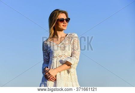 Girl White Dress Feel Free. Leisure And Rest. Summer Relax. Sunny Day. Girl Blue Sky Background. Fem