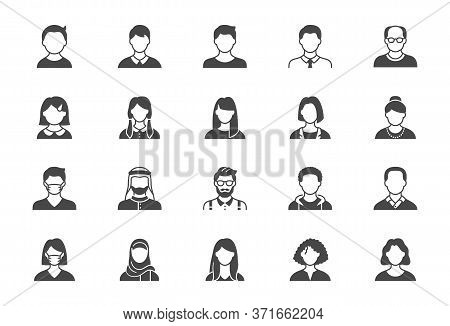 People Avatar Flat Icons. Vector Illustration Included Icon As Old Man, Female, Muslim, Senior, Adul