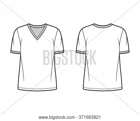 T-shirt Technical Fashion Illustration With V Neck, Fitted Oversized Body Short Sleeves, Flat Style.