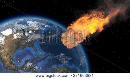 Asteroid Impact On Earth. Asteroid, Comet, Meteorite Glows, Enters The Earths Atmosphere. 3d Renderi